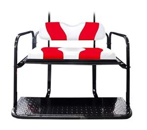 Picture of K01-015-21 PRECEDENT TWO TONE REAR FLIP SEAT WHITE W/RED STRIPE WAVE PATTERN