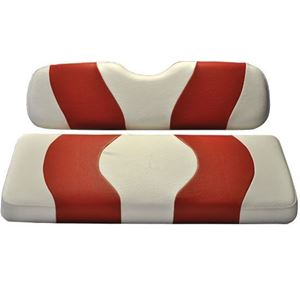 Picture of 10-015  Madjax Wave White/Red Two-Tone Club Car Precedent Front Seat Covers (Fits 2004-Up)