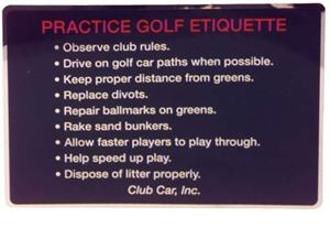 Picture of 14286 DECAL, GOLF ETIQUETTE, CC/B/92-97