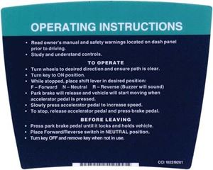 Picture of 14287 DECAL, OPERATING INSTRUCTIONS