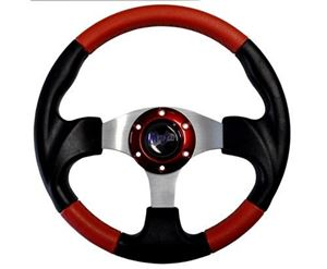 "Picture of 06-005 Madjax 13"" Red and Black Razor Steering Wheel"