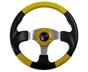 "Picture of 06-008 Madjax 13"" Yellow and Black Razor Steering Wheel"