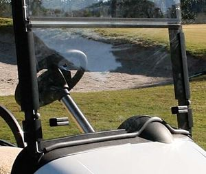 "Picture of 35130 Clear 3/16"" Acrylic Windshield Folding  With Bottom Rubber Trim for For 1994.5 - 2013 Ezgo TXT"