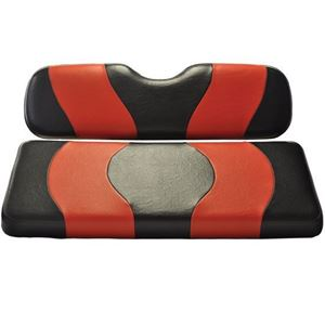 Picture of 10-003 Madjax Wave Black/Red Two-Tone EZGO TXT Front Seat Covers (Fits 1994.5-Up)