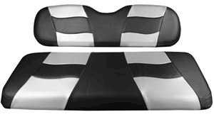 Picture of 10-131  Madjax Riptide Black Carbon/Silver Carbon Two-Tone EZGO TXT Front Seat Covers (Fits 1994.5-Up)