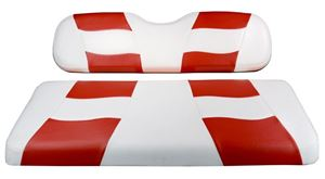 Picture of 10-141  Madjax Riptide White/Red Two-Tone EZGO TXT Front Seat Covers (Fits 1994.5-Up)