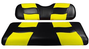 Picture of 10-136  Madjax Riptide Black/Yellow Two-Tone EZGO TXT Front Seat Covers (Fits 1994.5-Up)