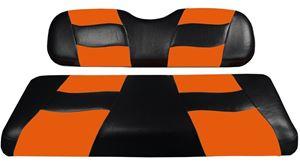Picture of RIPTIDE Black/Orange Two-Tone Seat Covers for E-Z-Go TXT