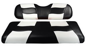 Picture of 10-120  Madjax Riptide Black/White Two-Tone Club Car DS Front Seat Covers (Fits 2000-Up)
