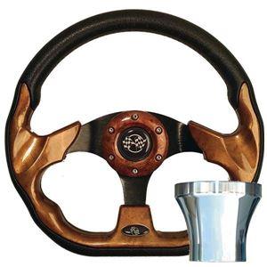 Picture of 06-065 E-Z-GO Woodgrain Racer Steering Wheel Chrome Adaptor Kit (Fits 1994.5-Up)