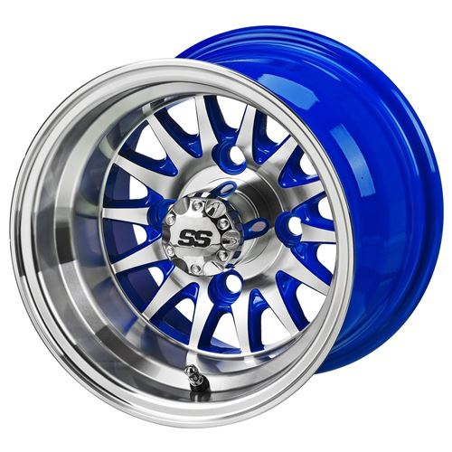 Picture of 10054 10X7 MACHINED/BLUE 14-SPOKE GOLF CART WHEEL