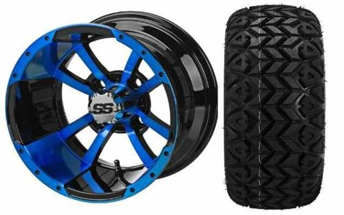 Picture of Set of 4  BLACK/BLUE MALTESE CROSS WHEEL with  22X11.00-12 4PR BLACK TRAIL TIRE