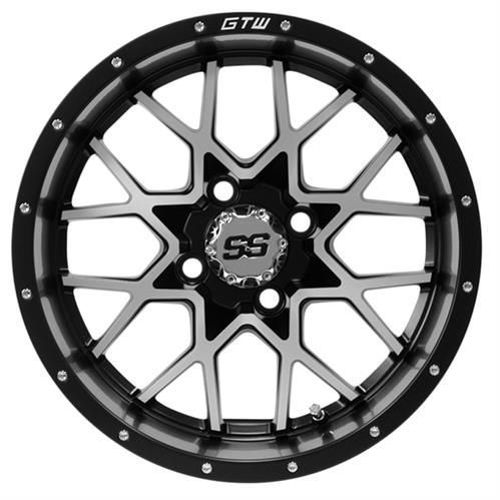 "Picture of 19-233 12"" GTW Vortex Matte Black & Machined Wheel"