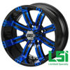 Picture of Tire Wheel Combo Set of (4).  14X7 BLACK/BLUE CASINO WHEEL with 23X10.00-14 4PR BLACK TRAIL TIRE