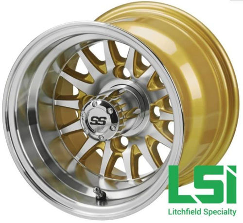 Picture of LS-157 10X7 MACHINED/GOLD 14-SPOKE GOLF CART WHEEL SET OF 4
