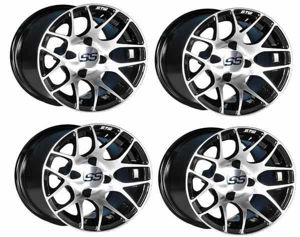 Picture of 19-100-4GTW Pursuit 12x7 Machined Black Wheel Set of 4
